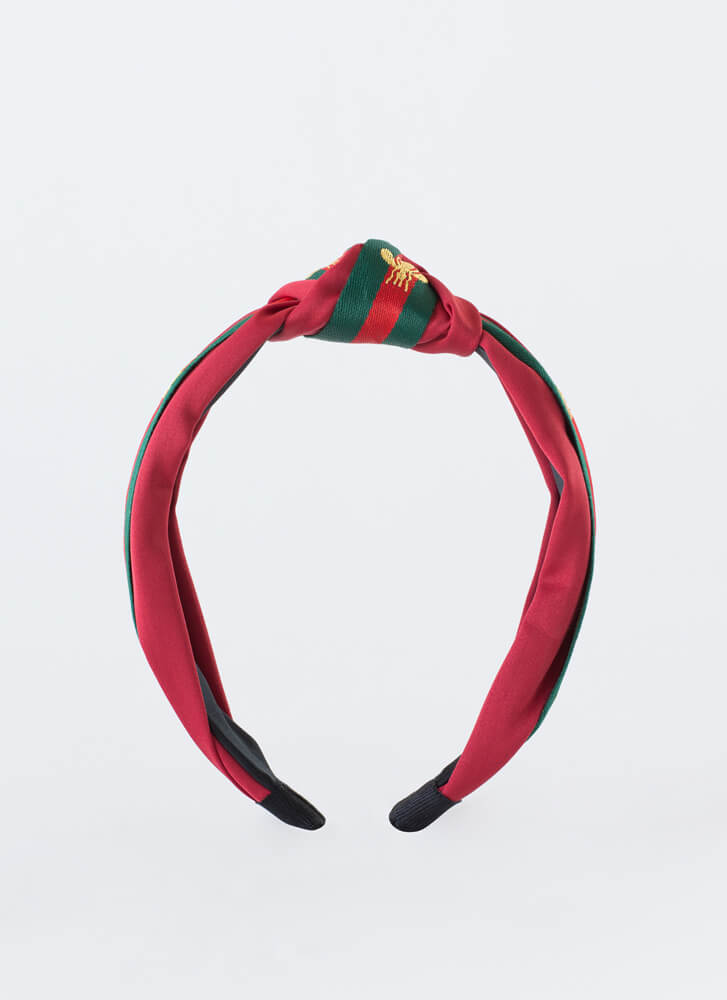 Bee Good Knotted Striped Headband RED