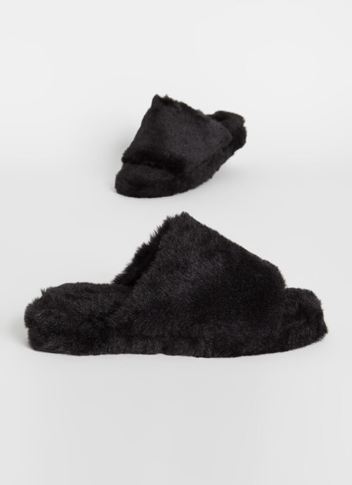 Call Me Fluffy Faux Fur Slide Sandals BLACK