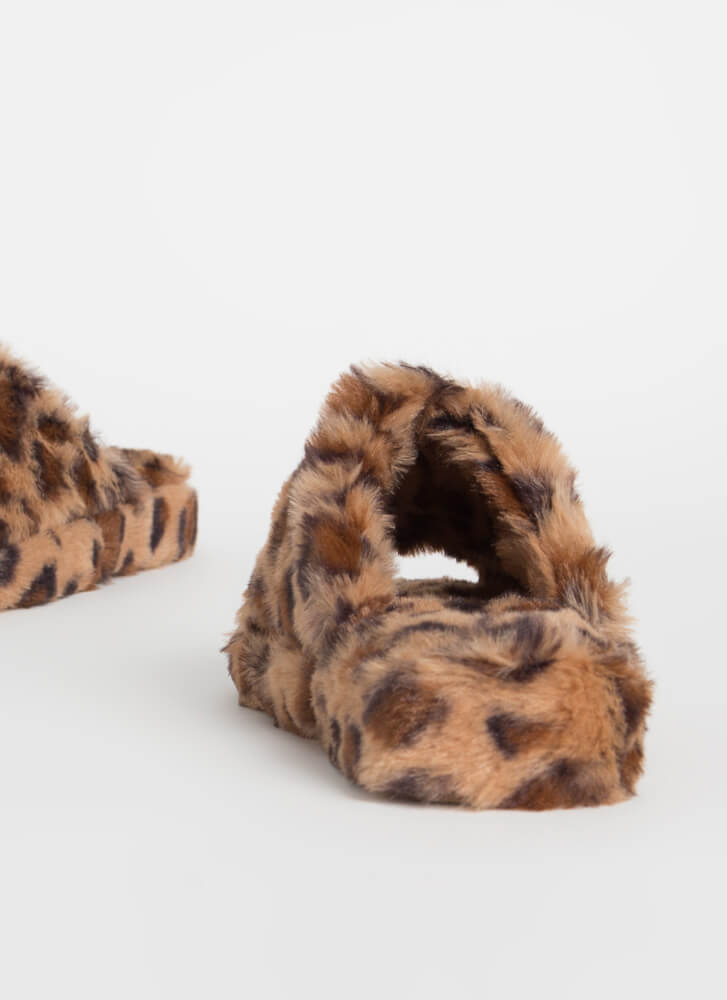 Call Me Fluffy Faux Fur Slide Sandals LEOPARD