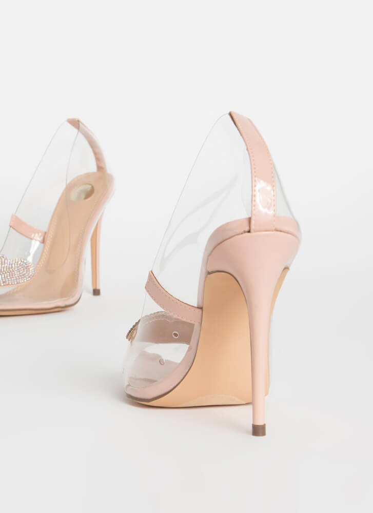 Heart Stopper Jeweled Pointy Clear Pumps NUDE