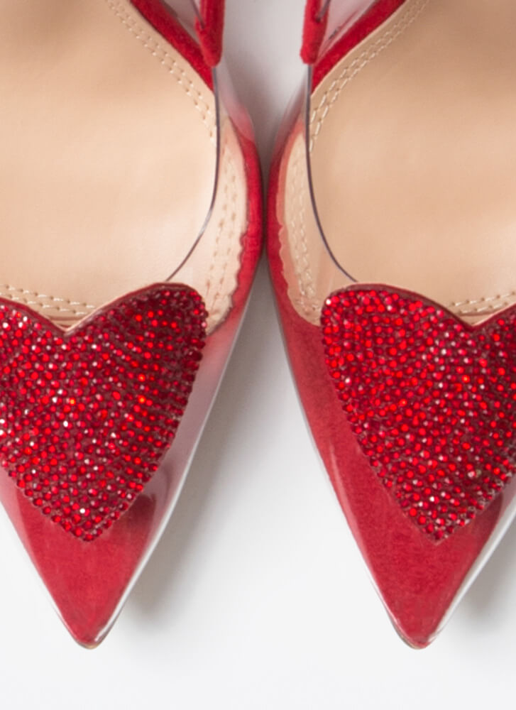 Heart Stopper Jeweled Pointy Clear Pumps RED
