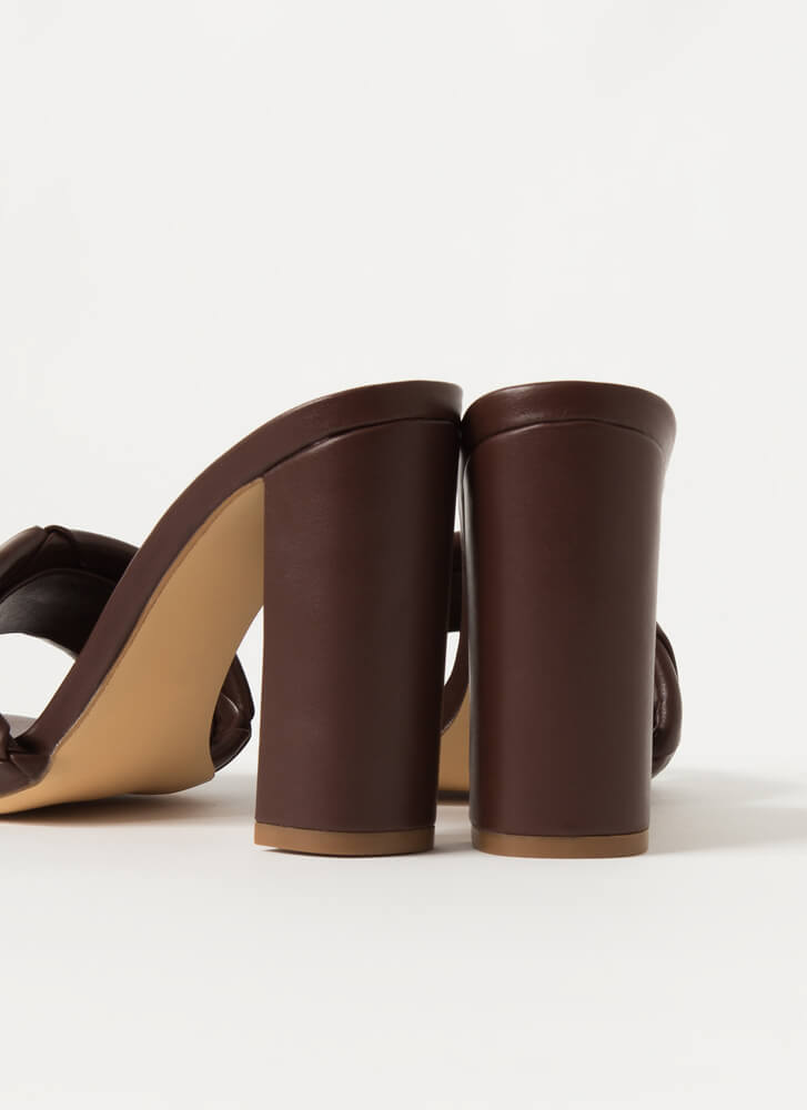 Over Under Chunky Woven Mule Heels BROWN