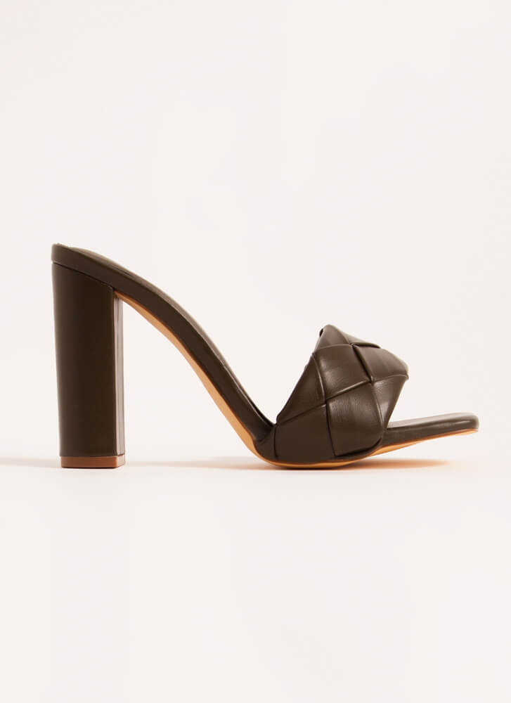 Over Under Chunky Woven Mule Heels DKOLIVE