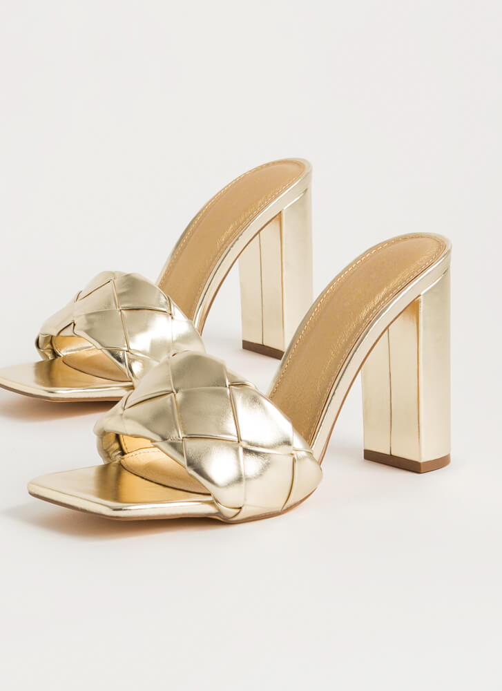 Over Under Chunky Woven Mule Heels GOLD