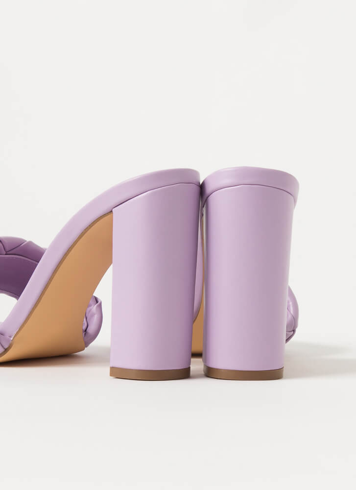 Over Under Chunky Woven Mule Heels LILAC