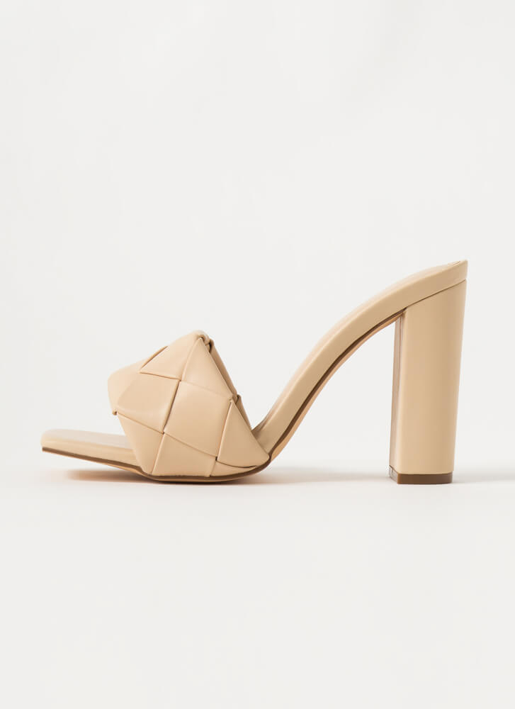 Over Under Chunky Woven Mule Heels NUDE
