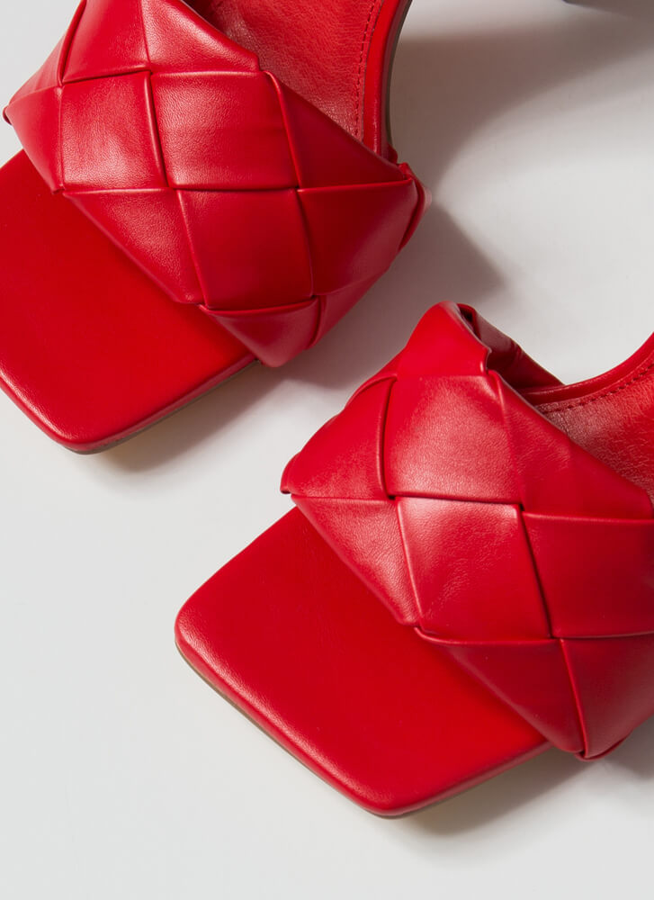 Over Under Chunky Woven Mule Heels RED