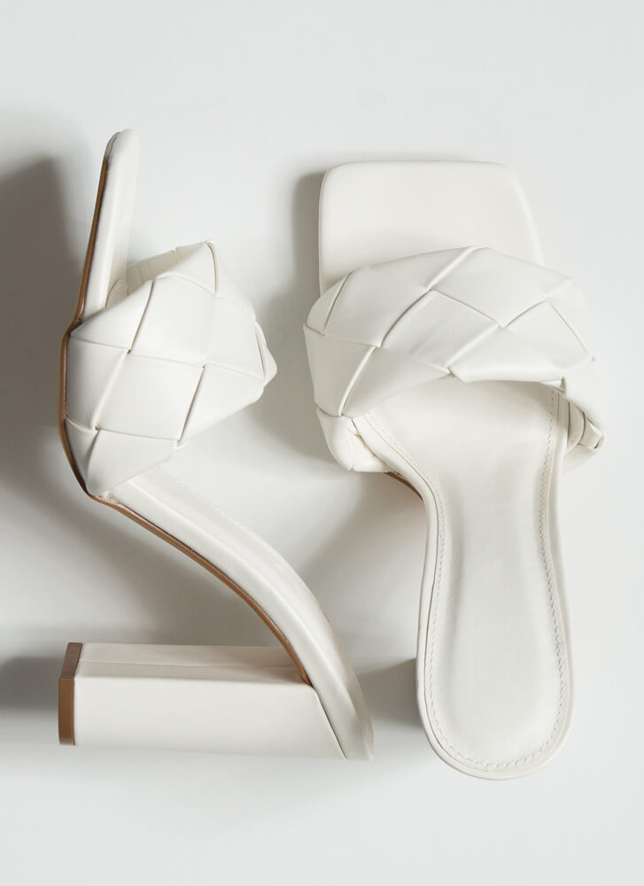 Over Under Chunky Woven Mule Heels WHITE