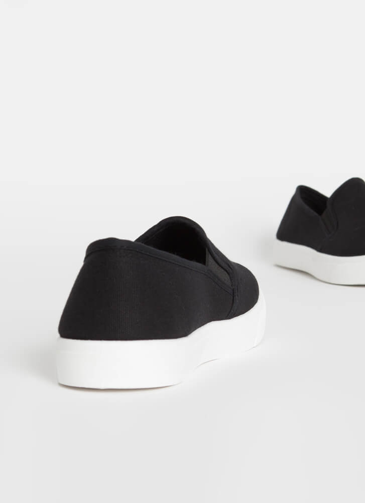 Just For Kicks Canvas Slip-On Sneakers BLACK