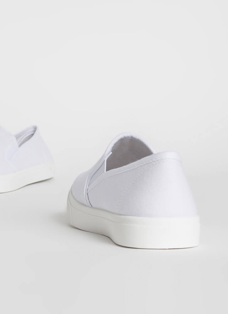 Just For Kicks Canvas Slip-On Sneakers WHITE