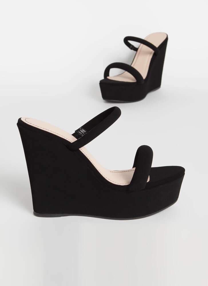 Two Easy Strappy Platform Wedges BLACK