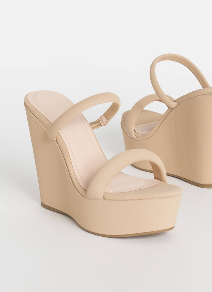 Two Easy Strappy Platform Wedges NUDE