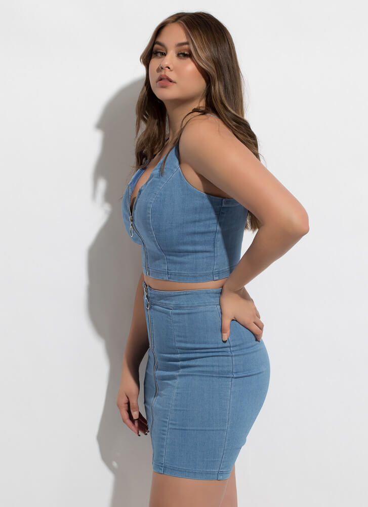 Zip Code Denim Top And Skirt Set MEDBLUE