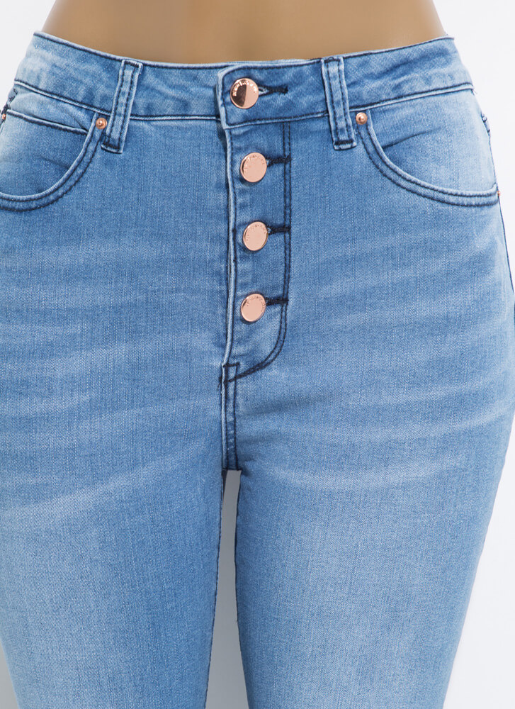 Button-Fly Girl High-Rise Skinny Jeans LTBLUE