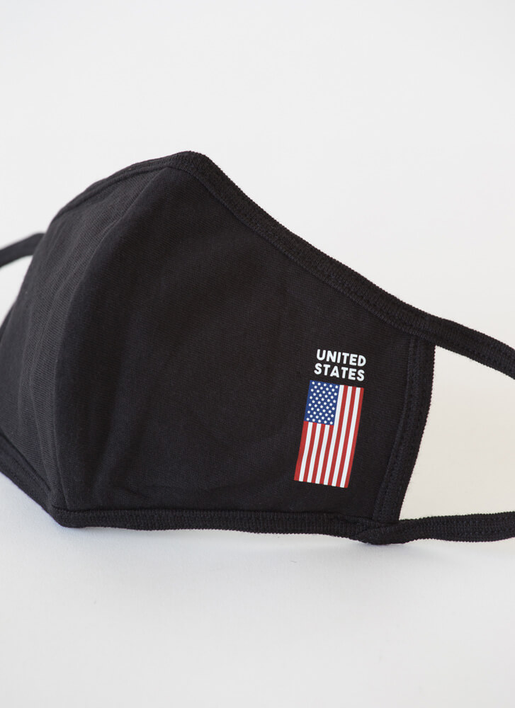 United We Stand American Flag Face Mask BLACK