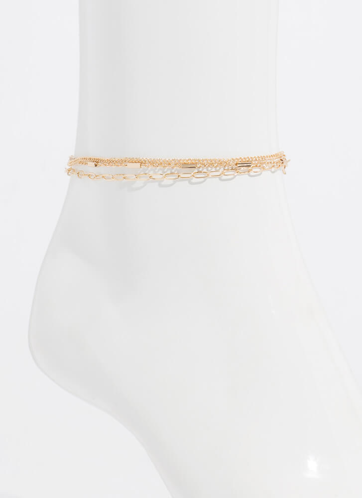 It Comes In Threes Anklet Trio GOLD