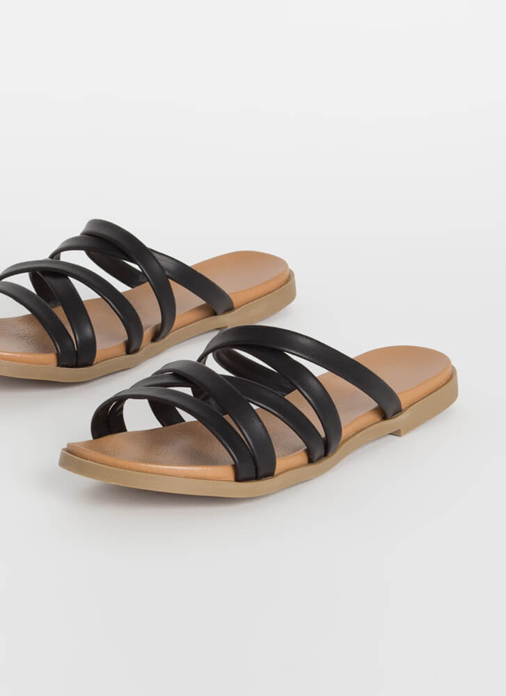 Vacation Mode Strappy Slide Sandals BLACK