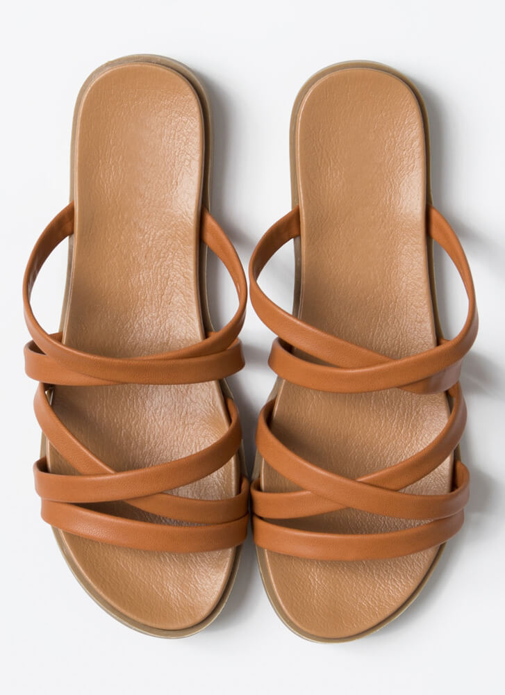 Vacation Mode Strappy Slide Sandals WHISKY
