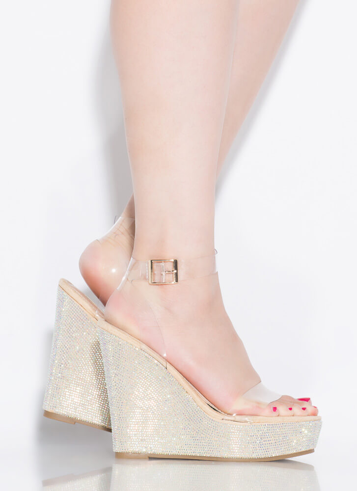 Clearly Sparkly Jeweled Platform Wedges NUDE