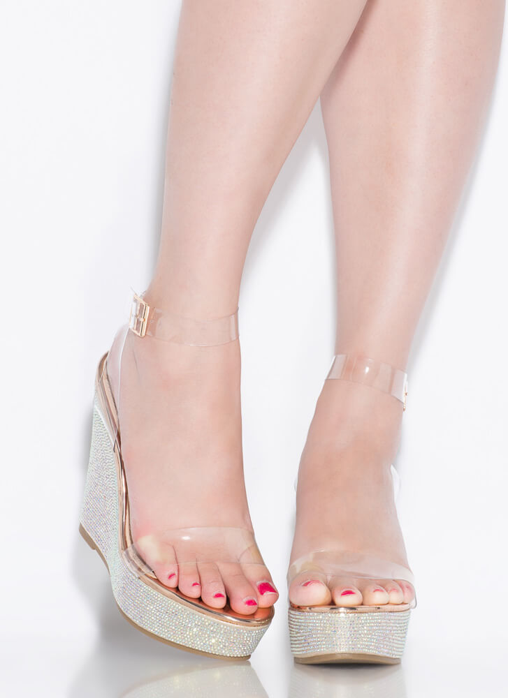Clearly Sparkly Jeweled Platform Wedges ROSEGOLD