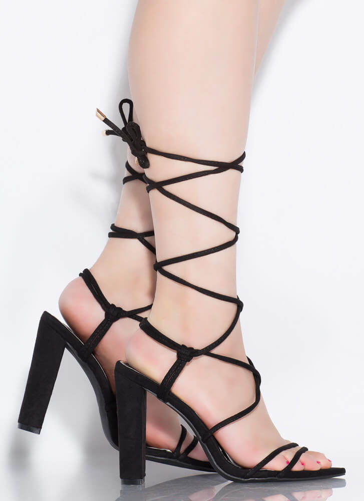 Ties That Bind Chunky Lace-Up Heels BLACK