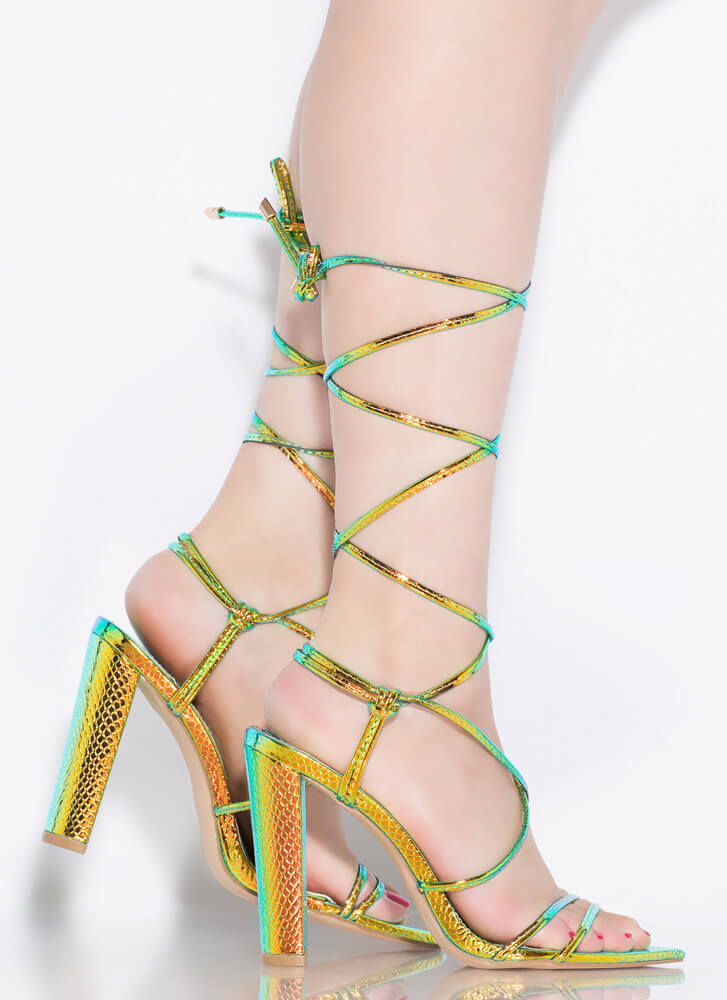 Ties That Bind Holographic Lace-Up Heels GREEN
