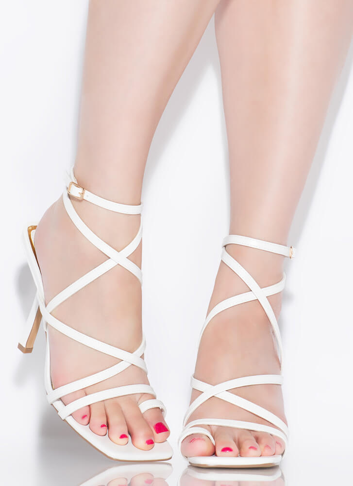 Don't Worry Be Strappy Square-Toe Heels WHITE
