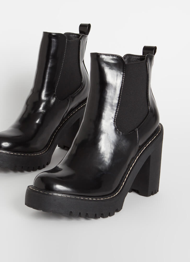 Chelsea In The City Chunky Lug Booties BLACK