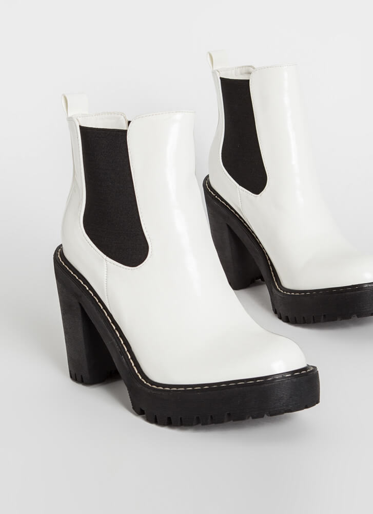 Chelsea In The City Chunky Lug Booties WHITE