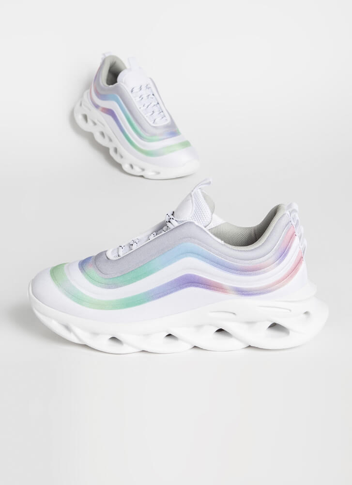 New Wave Striped Platform Sneakers WHITE