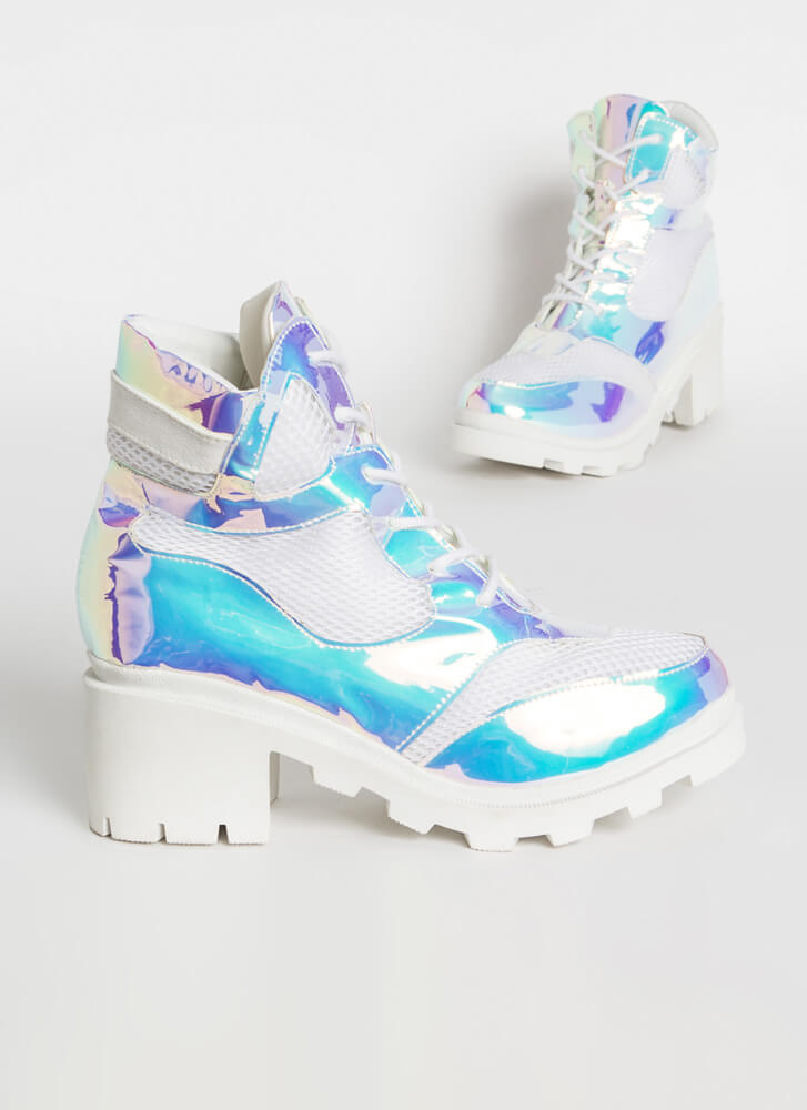 Flash To The Future Holographic Booties WHITE