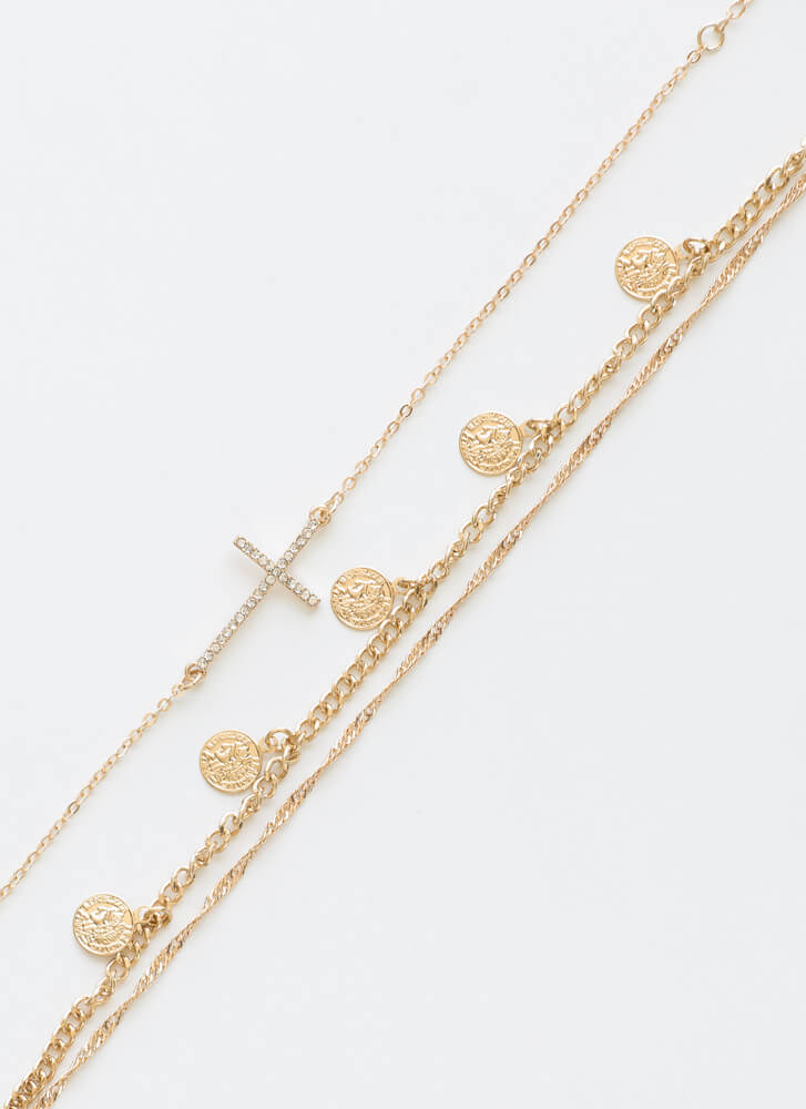 Crosses Coins And Chains Anklet Duo GOLD