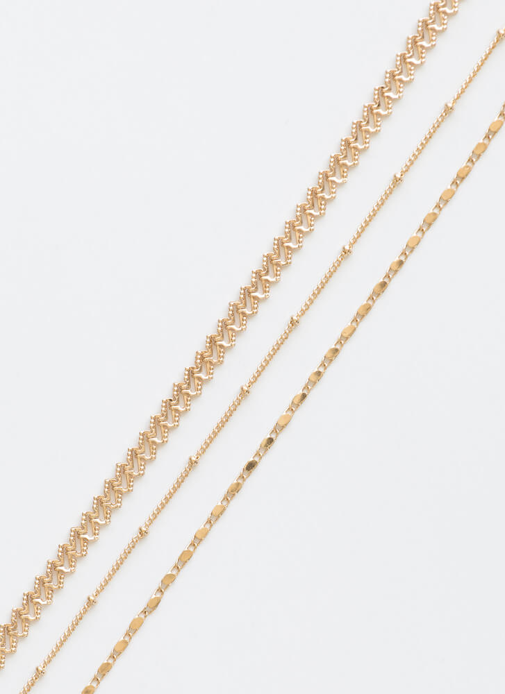 Chains Of Plans Anklet Trio GOLD