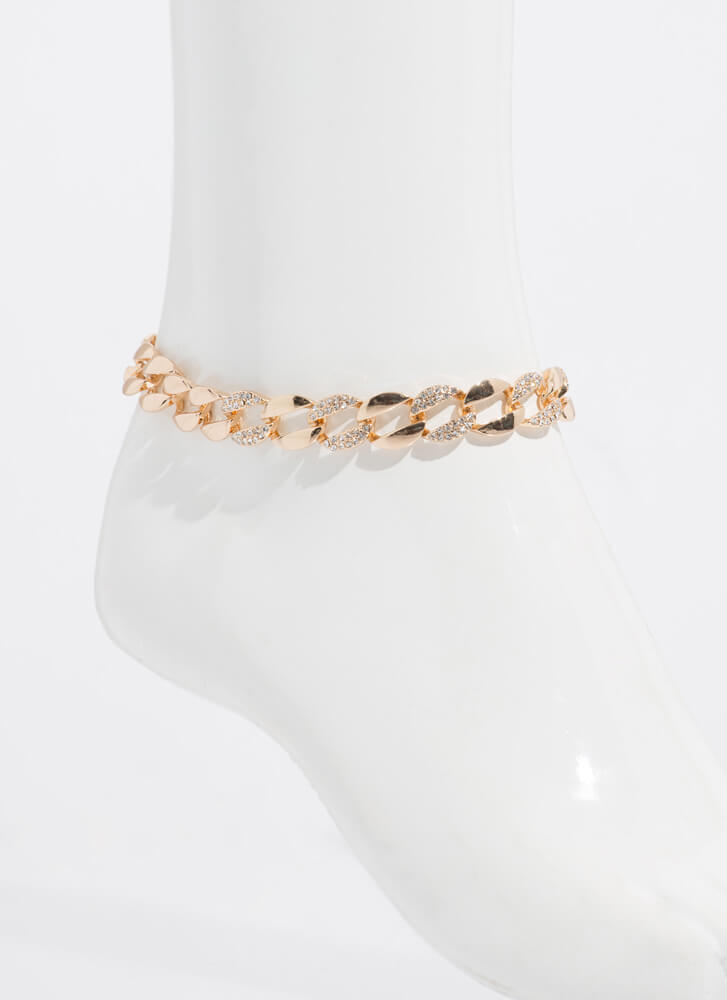 Linking Of You Jeweled Chain Anklet GOLD