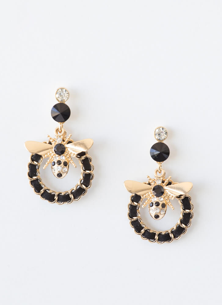 Bee Glamorous Ringed Faux Gem Earrings GOLD