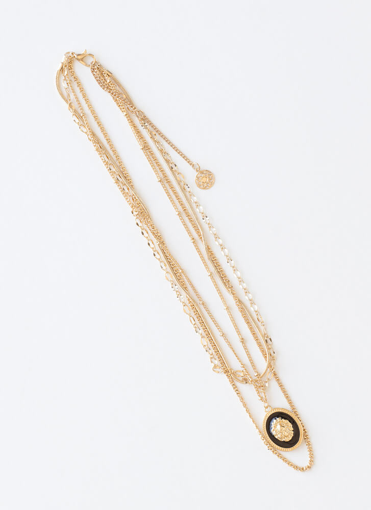 A Lion Makes A Cameo Layered Necklace GOLD