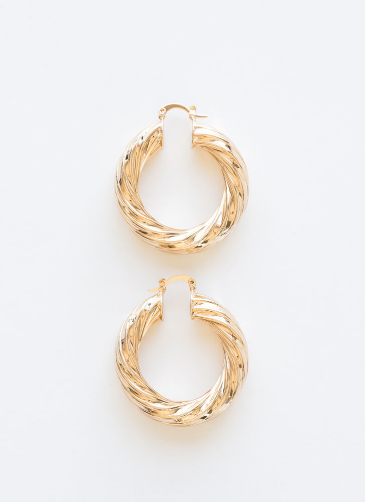 Twist To The Story Chunky Hoop Earrings GOLD