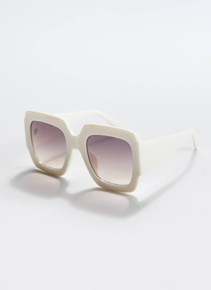 Geometry Class Thick-Rimmed Sunglasses WHITE