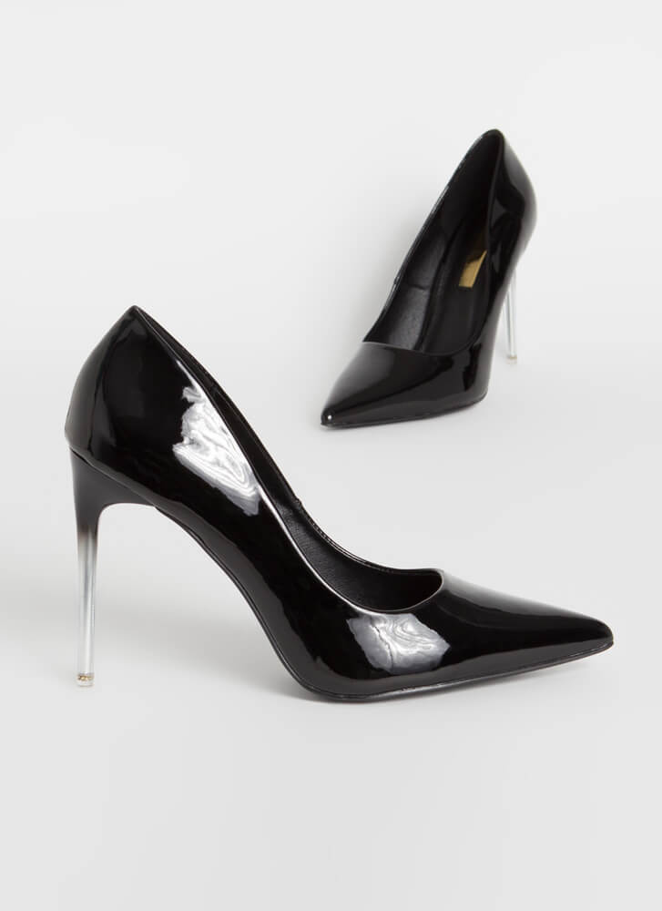 Oohs And Ombres Pointy Stiletto Pumps BLACK