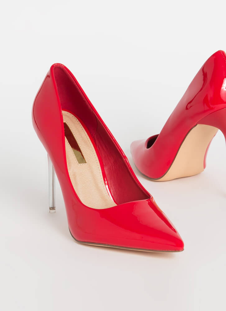Oohs And Ombres Pointy Stiletto Pumps RED