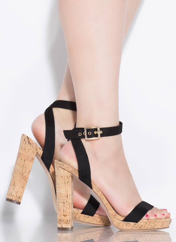 Pop The Cork Strappy Chunky Heels BLACK
