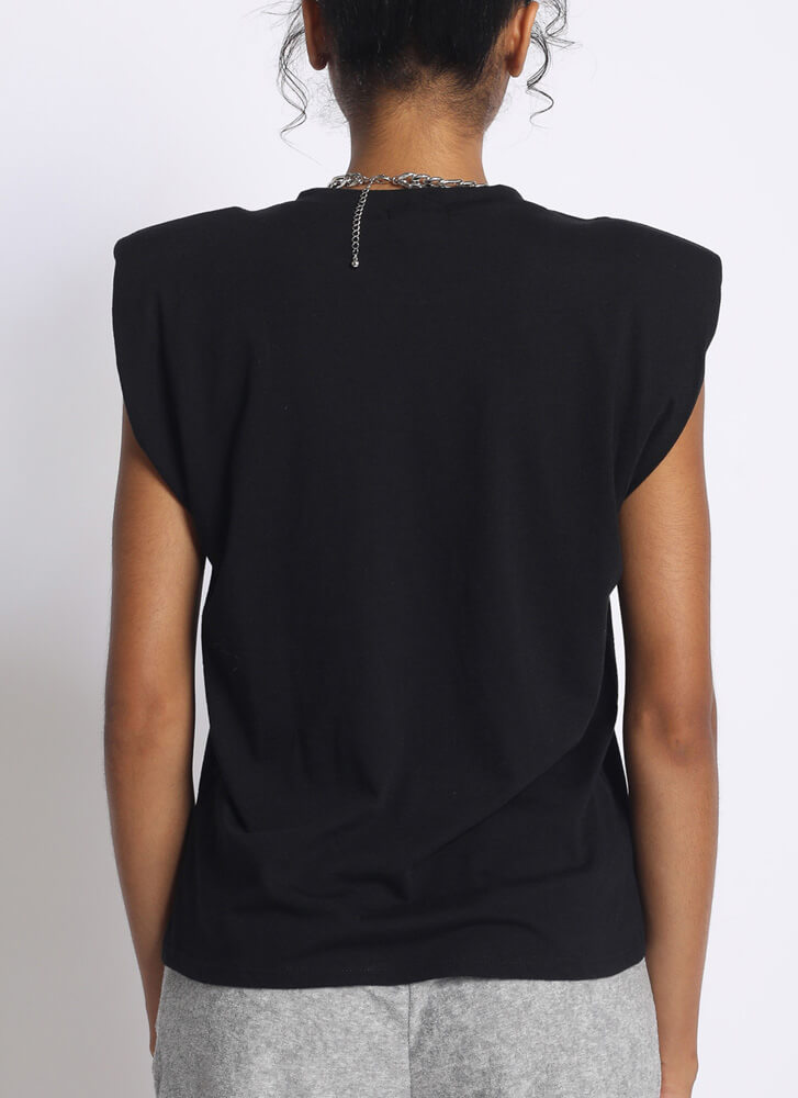 Arm Candy Shoulder Pad Tank Top BLACK
