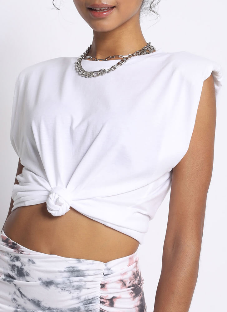 Arm Candy Shoulder Pad Tank Top WHITE