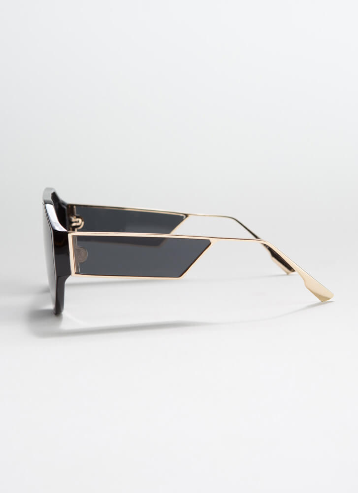Side Piece Round Cut-Out Sunglasses BLACK