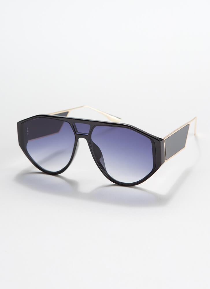 Side Piece Round Cut-Out Sunglasses BLACKBLUE