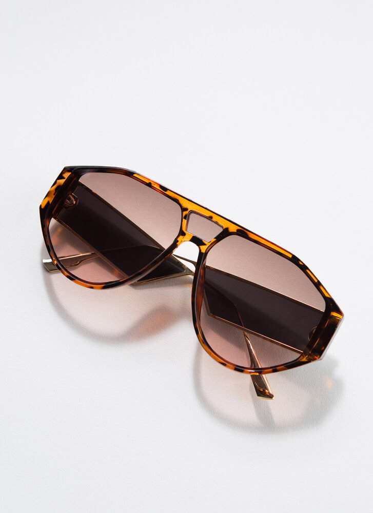 Side Piece Round Cut-Out Sunglasses TORTPINK