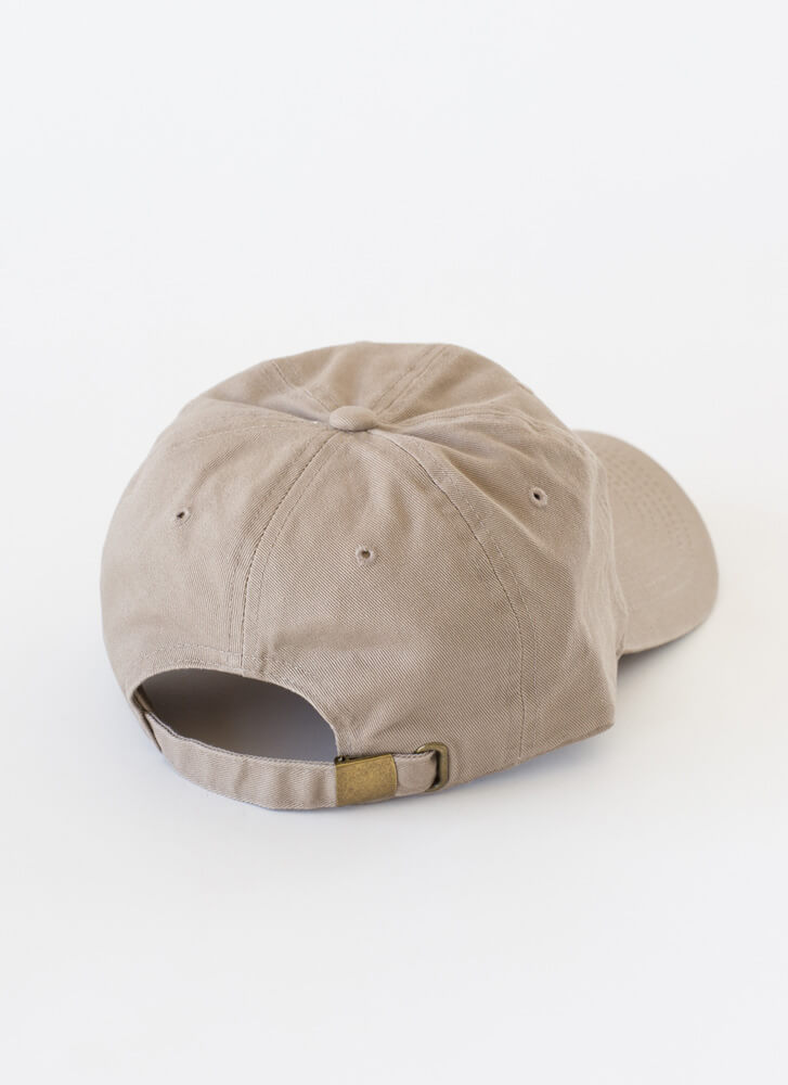 Stay Strong Embroidered Cotton Cap KHAKI