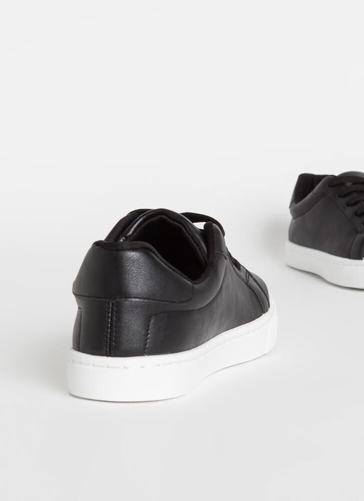 Classic Silhouette Faux Leather Sneakers BLACK