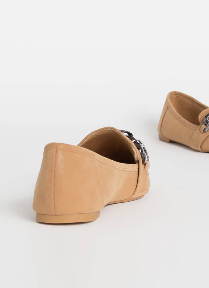 Got Edge Pointy Chain Strap Loafer Flats CAMEL