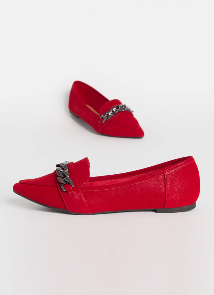 Got Edge Pointy Chain Strap Loafer Flats RED
